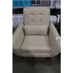 CREAM COLOURED UPHOLSTERED ARM CHAIR WITH THROW CUSHION