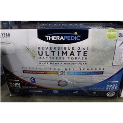 THERAPEUTIC REVERSIBLE 2 IN 1 ULTIMATE MATTRESS TOPPER WHITE DOWN/MEMORY FOAM QUEEN SIZED