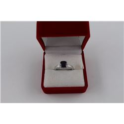 CERTIFIED SAPPHIRE + DIAMOND SOLITAIRE RING, 1.25CT SQUARE CUT SAPPHIRE + 2 SIDE DIAMONDS, INCLUDES
