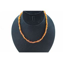 CERTIFIED ORANGE BALTIC AMBER NECKLACE, STERLING SILVER FINDINGS, INCLUDES CERTIFICATE