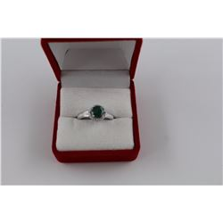 EMERALD + DIAMOND SOLITAIRE RING, 1CT ROUND CUT, HALO SETTING + 2 SIDE DIAMONDS