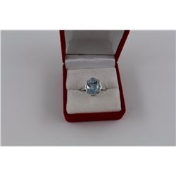 BLUE TOPAZ OVAL CUT RING, 3.1CT, CLAW SETTING, STERLING SILVER