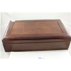 LARGE WOODEN JEWELLERY BOX FILLED WITH MISC ESTATE ITEMS