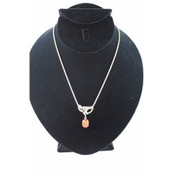 STERLING SILVER 925 ROPE STYLE CHAIN WITH ORANGE STONE PENDANT
