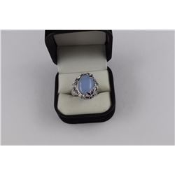 STERLING SILVER 925 LARGE LIGHT BLUE STONE AND FLOWER DESIGNED RING