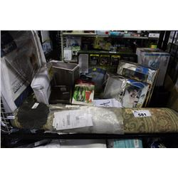 SHELF LOT - COMFORT SUPREME BED WEDGE, PICTURE FRAMES, AREA RUG AND MANY MORE HOUSEHOLD ITEMS