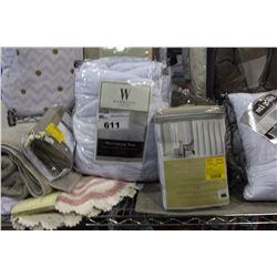 SHELF LOT - FULL SIZED MATTRESS PAD, MISC NEW TOWELS, MATS AND BEDDING
