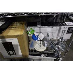 SHELF LOT - JEWELRY ARMOIRE NEW IN THE BOX, 2 TIER SHOWER SPACE SAVER, DELTA RAIN HEAD/SHOWER  HEAD