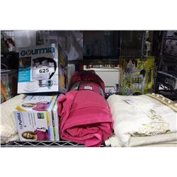 SHELF LOT - TURKEY ROASTING PAN, MISC BATHROOM MATS, TOWELS AND BLANKETS.