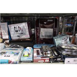 SHELF LOT - WAFFLE MAKER, COCOA MACHINE AND MANY MORE HOUSEHOLD ITEMS