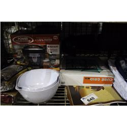 SHELF LOT - CLOSET ORGANIZER, 6 QUART ONE TOUCH SLOW COOKER, MISC LINEN AND BATHMATS AND MANY MORE H