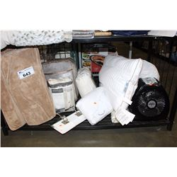 SHELF LOT - READING WEDGE, PILLOWS, A VORNADO FAN AND MANY MORE HOUSEHOLD ITEMS