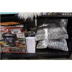 SHELF LOT- PRESSURE COOKER, TWO SOFA PILLOWS AND A BOX SPRING SHAM