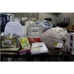 SHELF LOT - DESIGNER SUADE CHAIR COVER, MISC PILLOWS, 5 CUP COFFEE MAKER AND MUCH MORE