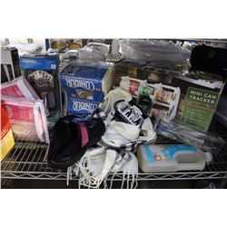 SHELF LOT - 20 PIECE FLATWARE SET, MISC DRAPES, MEMORY FOAM SLIPPERS AND MANY MORE HOUSEHOLD ITEMS