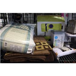 SHELF LOT - TABLETOP SEWING MACHINE, MISC TOWELS AND CURTAINS AND A 20L STOCK POT.