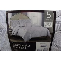 5 PIECE 100% COTTON COMPLETE BED SET KING SIZE