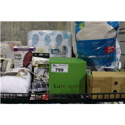 SHELF LOT OF MISC INCLUDING: BACK SUPPORT PILLOW, QUEEN SIZE COMFORTER AND MORE