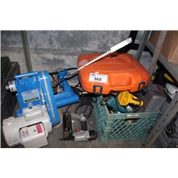 SHELF LOT - TOOLS, BRAD NAILER, ELECTRIC DRILL, LARGE ELECTRIC MOTOR