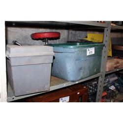 SHELF LOT - TOOL BOX AND A PLASTIC TOTE WITH MECHANIC STOOL