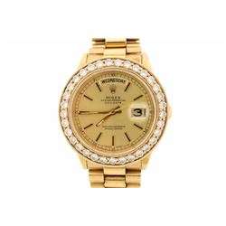 WATCH: 18kt yellow gold Men's Rolex Oyster Perpetual Day Date wristwatch; Champagne Roman numeral di