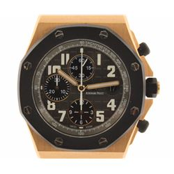 WATCH:  [1] 18 karat rose gold gents Audemars Piguet Royal Offshore Chronograph watch with a black r