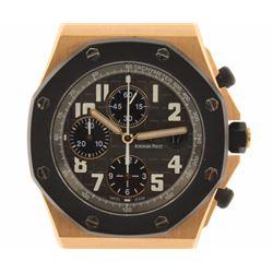 WATCH:  [1] 18 karat rose gold gents Audemars Piguet Royal Offshore Chronograph watch with a black r