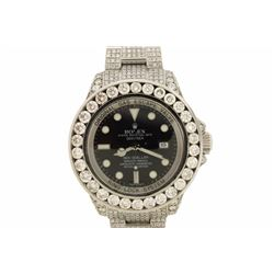 WATCH:  [1] Stainless steel gents 44mm Rolex Seadweller Oyster Perpetual Date watch with a black dia