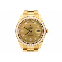 WATCH:  [1] 18 karat yellow gold gents Rolex Oyster Perpetual Day-Date II President watch with a cha