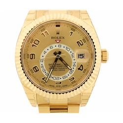 ROLEX: 18kt yellow gold Men's Rolex Oyster Perpetual Sky-Dweller wristwatch; 18kt yellow gold rotata