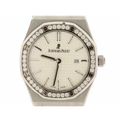 WATCH: Stainless steel Audemars Piguet Royal Oak watch; (40) rb diamonds, 1.5mm=est. 0.60cttw, V.Goo