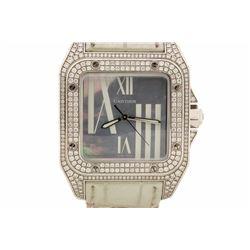WATCH: 18kw Cartier Santos 100 watch; (369) rb diamonds, 1.25-1.30mm=est. 3.50cttw, V.Good/G-H/VS1-V