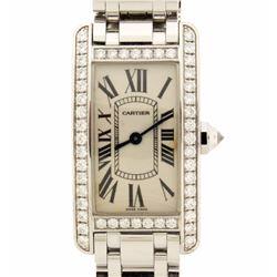 WATCH: 18kw Cartier Tank Americaine watch; (48) rb diamonds, 2.0mm=est. 1.44cttw, V.Good/G-H/VS1-VS2