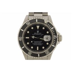 WATCH:  [1] Stainless steel gents Rolex Oyster Perpetual Date Submariner watch with a black bezel an