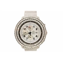WATCH:  [1] Stainless steel gents Breitling Super Avenger Chrono Automatic watch with a white dial;