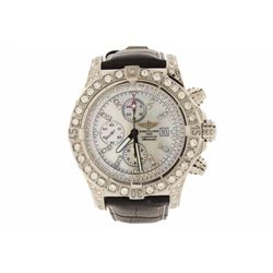WATCH: [1] Stainless steel and 18KWG gents Breitling Super Avenger automatic watch with a black leat