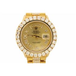 ROLEX: 18ky (stamped) Rolex President; (29) rb diamonds, 3.6mm=est. 4.96cttw, V.Good/G-H/VS1-VS2; (3
