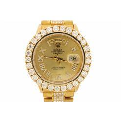 ROLEX: 18ky (stamped) Rolex President; (29) rb diamonds, 3.6mm=est. 4.96cttw, V.Good/G-H/VS1-VS2; (3