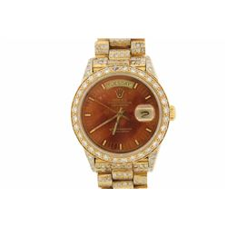 WATCH: [1] 18KYG gents Rolex Oyster Perpetual Day Date President watch with an aftermarket brown dia
