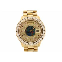 WATCH:  [1] 18 karat yellow gold gents  Rolex Oyster Perpetual Datejust watch with an aftermarket di