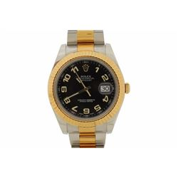 WATCH: [1] 18kt yellow gold and stainless steel Men's Rolex Oyster Perpetual DateJust II wristwatch;
