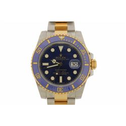WATCH: [1] 18kt yellow gold and stainless steel Men's Rolex Oyster Perpetual Submariner wristwatch;1