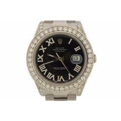 WATCH: [1] Stainless steel Men's Rolex Oyster Perpetual Datejust II wristwatch; Black aftermarket di