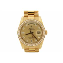 WATCH:  [1] 18KYG gents Rolex Oyster Perpetual Day Date President watch with a champagne dial and di
