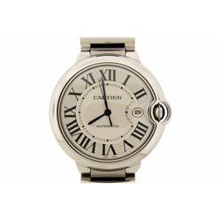 WATCH:  [1] Stainless steel gents Cartier gents Large Balloon Bleu Automatic watch, model #W69012Z4,