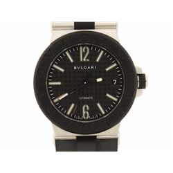 WATCH: Mid-size st.steel Bulgari Diagono wristwatch; 35.66mm round case; black bezel; black textured