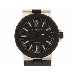 WATCH: Mid-size st.steel Bulgari Diagono wristwatch; 35.66mm round case; black bezel; black textured