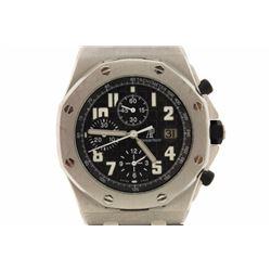 WATCH: [1] Stainless Steel Audemars Piguet Royal Oak Offshore Automatic Chronograph wrist watch; Bla