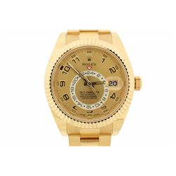 WATCH: [1] 18kt yellow gold Men's Rolex Oyster Perpetual Sky-Dweller wristwatch; Gold dial with annu