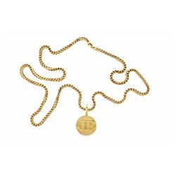 NECKLACE:  [1] 10 karat yellow gold Franco chain necklace; 6.00mms x 43''s; 217.97 grams (Clasp need